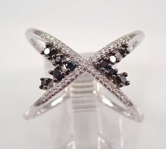 White Gold Black Diamond Cluster Crossover Wedding Ring Anniversary Band Size 7