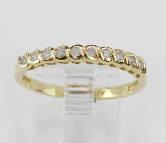 Diamond Wedding Ring, Diamond Anniversary Band, Size 7, Yellow Gold Stackable Ring
