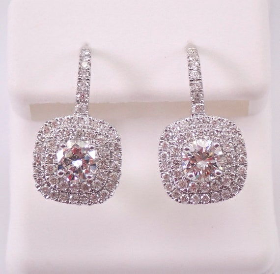 14K White Gold 2.26 ct Diamond Cluster Halo Drop Earrings Leverback Wedding Gift