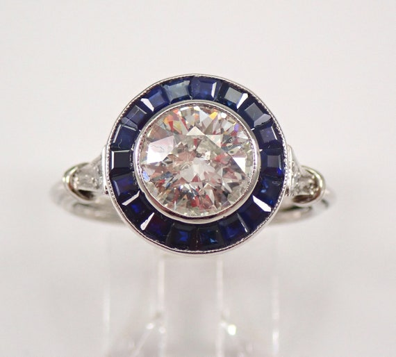 Antique Platinum Old Miner Diamond and Sapphire Halo Engagement Ring Size 7.5 FREE Sizing