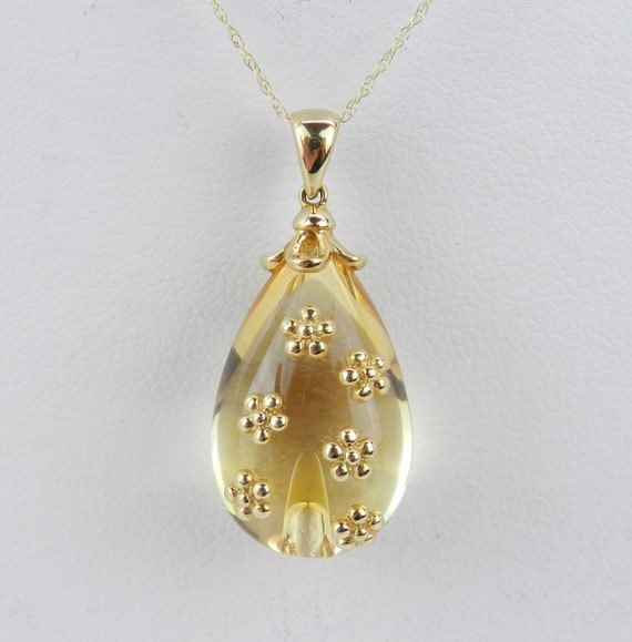 """14K Yellow Gold 23 ct Citrine Flower Pendant 18"""" Chain Cabochon Egg Necklace"""