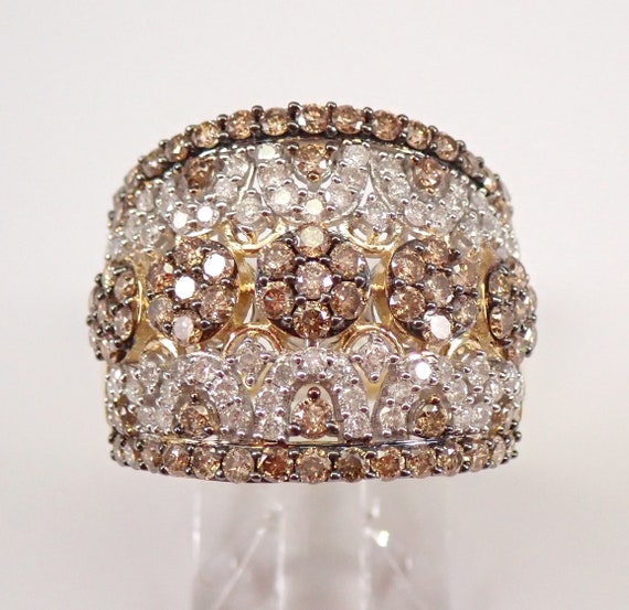 Yellow Gold 2.00 ct Cognac and White Diamond Cluster Ring Anniversary Band Size 7.25