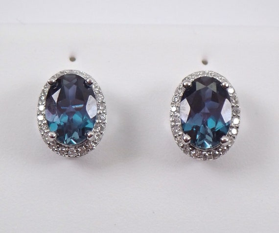 14K White Gold Alexandrite and Diamond Stud Earrings Halo Studs June Birthstone