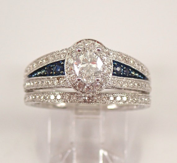 14K  White Gold 1.66 ct Oval Diamond Engagement Wedding Ring Band Set Sapphire Accents Free Sizing