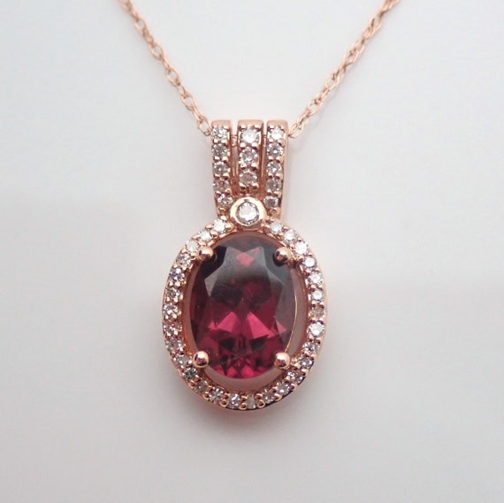 "Garnet and Diamond Halo Pendant Necklace 18"" Chain 14K Rose Gold January Gemstone"
