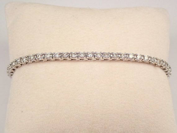 14K White Gold 2.00 ct Diamond Tennis Bracelet Traditional Prong Set Line