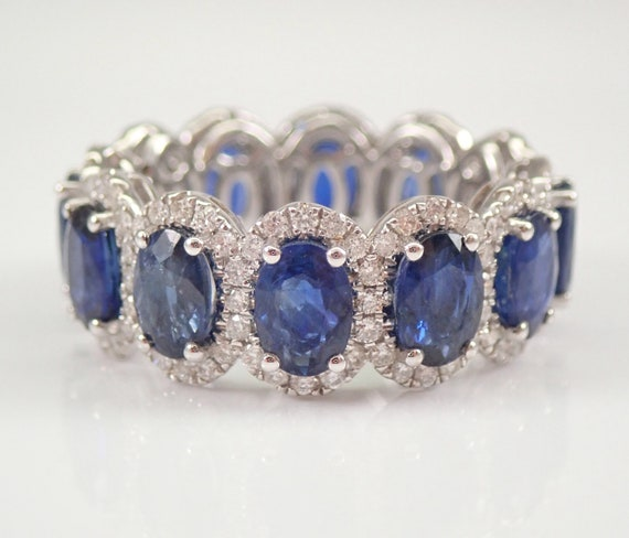 18K White Gold 8.10 ct Diamond and Sapphire Eternity Wedding Ring Anniversary Band Size 7