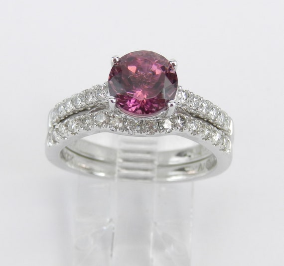 Pink Tourmaline and Diamond Engagement Ring Wedding Band Set 14K White Gold FREE Sizing