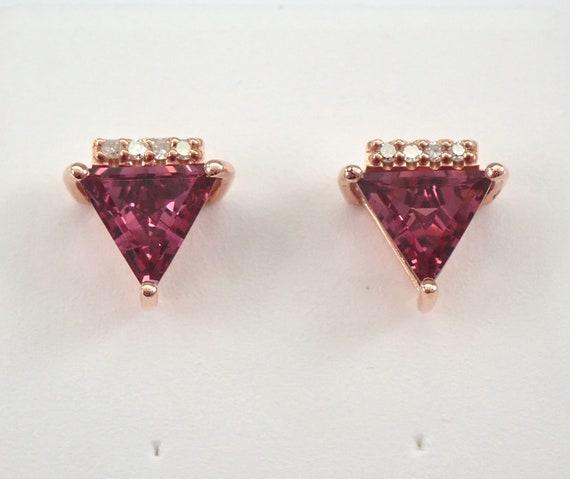 Garnet and Diamond Stud Earrings Trillion Studs Rose Gold January Birthstone
