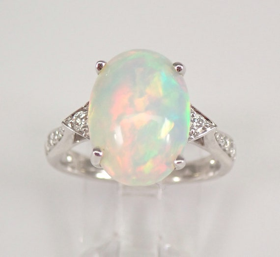 14K White Gold 4.78 ct Diamond and Opal Engagement Ring Size 7 October Gemstone FREE Sizing
