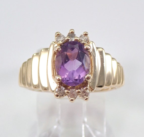 Vintage 14K Yellow Gold Amethyst and Diamond Engagement Ring Size 6 Purple Gem FREE Sizing