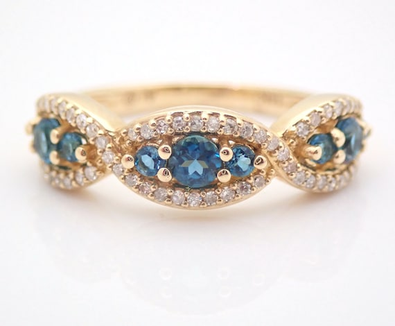 14K Yellow Gold Diamond and London Blue Topaz Wedding Ring Anniversary Band Size 7 FREE Sizing