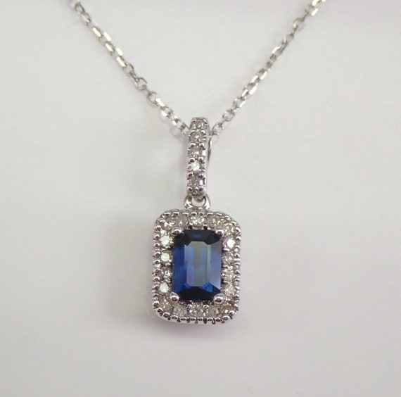 """Sapphire and Diamond Halo Necklace Pendant White Gold 18"""" Chain Wedding Gift September Gemstone"""