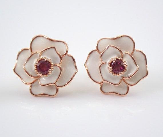 Garnet and White Enamel Flower Stud Earrings Rose Gold Studs January Birthstone