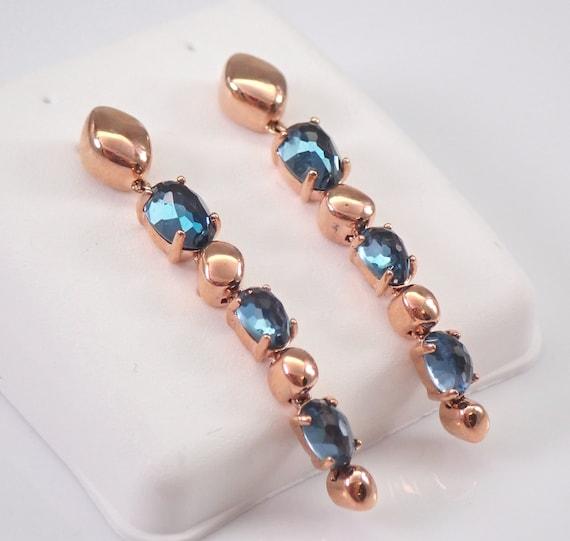 Rose Gold London Blue Topaz Dangle Drop Earrings December Gemstone