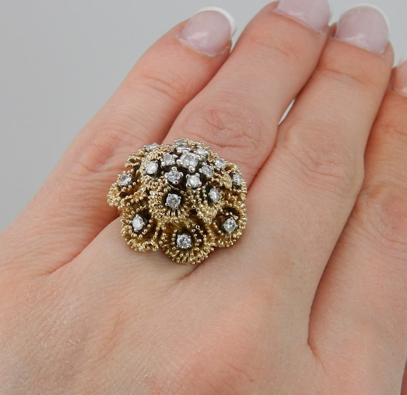 RESERVED Vintage Cluster Ring Antique Ring Genuine Diamond DOME Ring 14K Yellow Gold Size 5.25