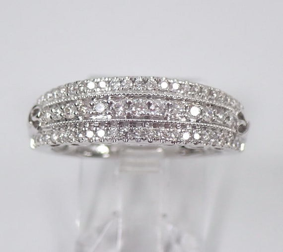 Diamond Wedding Ring Anniversary Band Heart Design White Gold Size 6.75 Pave Set Three Row