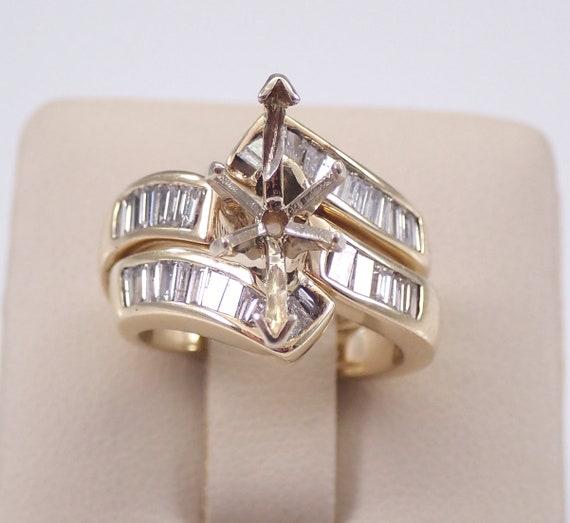 14K Yellow Gold Diamond Engagement Ring Wedding Band Guard Set Setting Semi Mount