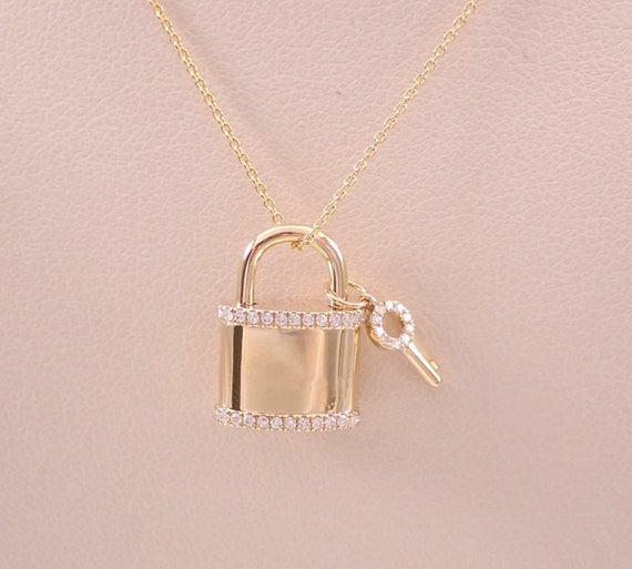 "14K Yellow Gold Diamond LOCK and KEY Pendant Necklace 18"" Chain Wedding Graduation Gift Present"