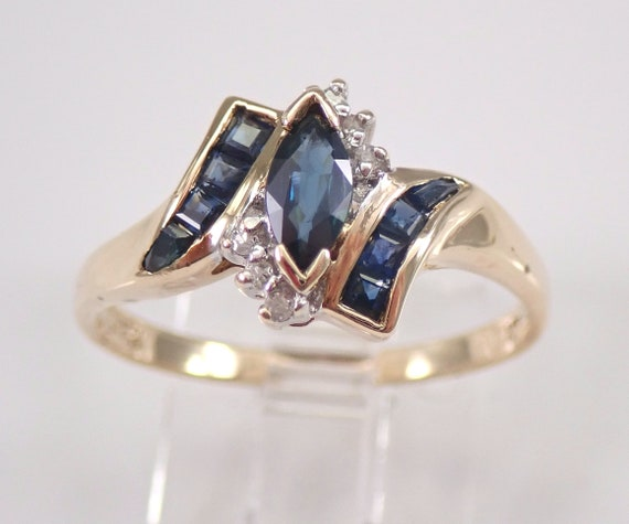 Vintage Yellow Gold Diamond and Sapphire Engagement Ring Size 7.25 September Gem Birthstone FREE Sizing