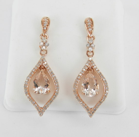Morganite and Diamond Dangle Drop Earrings Rose Pink Gold Teardrop Design Gemstone Gift