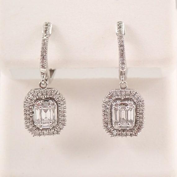 White Gold Diamond Cluster Halo Drop Dangle Emerald Cut Earrings Wedding Gift