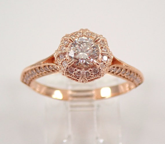 14K Rose Gold 1.00 ct Diamond Halo Engagement Ring Size 7 Unique Modern Design