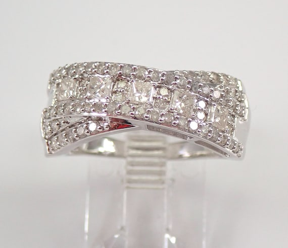 1.00 ct Diamond Wedding Ring Anniversary Band Crossover Ring White Gold Size 7 FREE Sizing