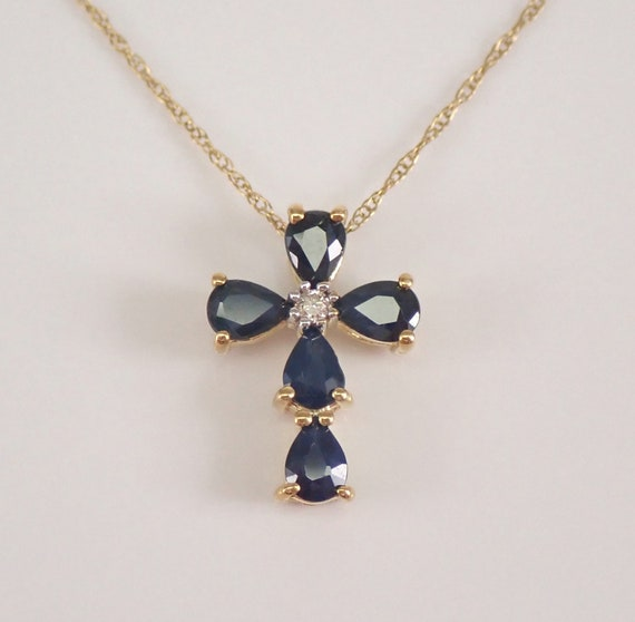 """Diamond and Sapphire Cross Pendant Necklace 18"""" Chain Yellow Gold Religious Charm"""