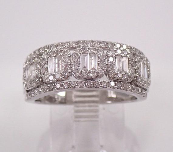 14K White Gold 1.25 ct Diamond Anniversary Ring Halo Wedding Band Size 7.25 FREE Sizing
