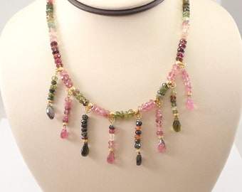 """Vintage TANYA MOSS 18K Yellow Gold Multi Color Tourmaline Bead Necklace 16"""""""