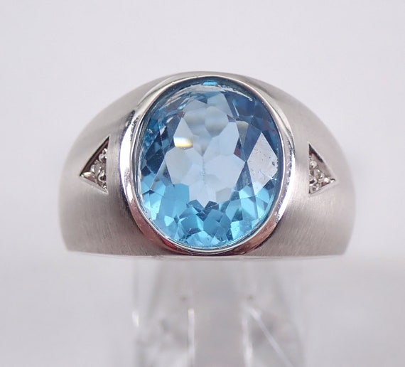 Mens Blue Topaz and Diamond Wedding Pinky Ring Anniversary White Gold Size 8.5