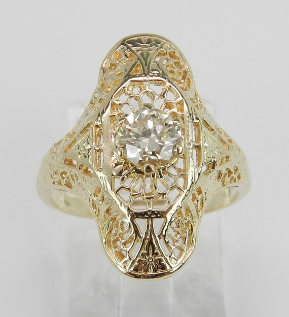 Antique Vintage Filigree Solitaire Diamond Cocktail Ring 14K Yellow Gold Size 4.5
