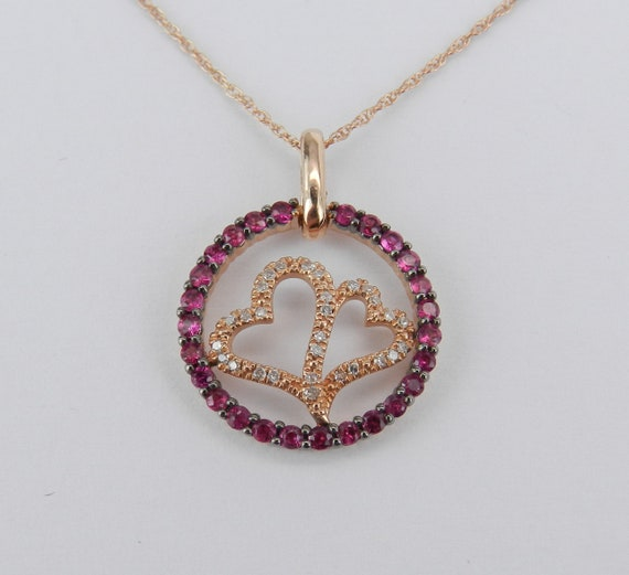 """Diamond and Ruby Heart Necklace Circle Pendant Rose Gold 18"""" Chain July Gem"""