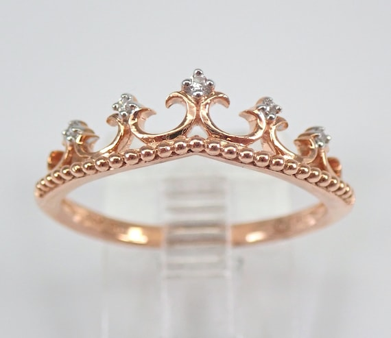 Modern Diamond Crown Cocktail Ring 14K Rose Gold Stackable Fashion Ring Size 7 FREE Sizing