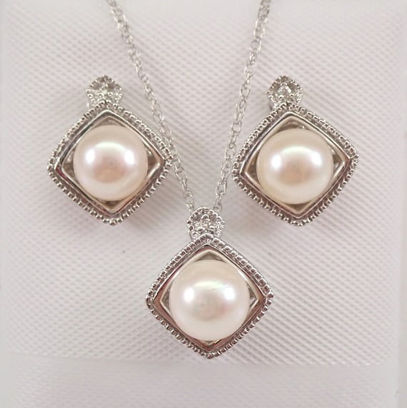 "White Gold Diamond and Pearl Pendant Necklace Earrings Set 18"" Chain June Birthstone"