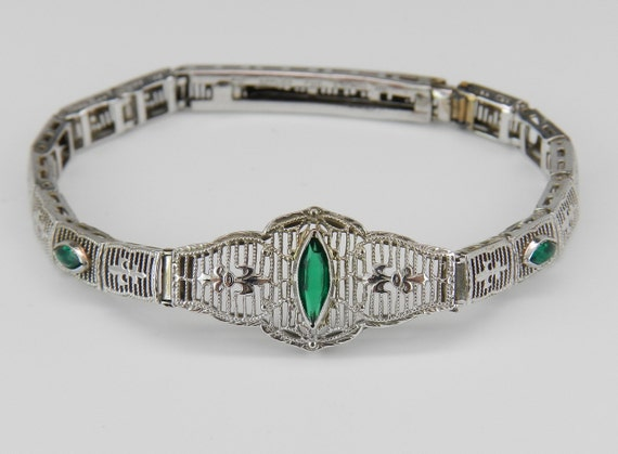 Antique Emerald Bracelet, Art Deco Emerald Filigree Bracelet, Antique Bracelet, Art Deco White Gold Bracelet, Circa 1920's