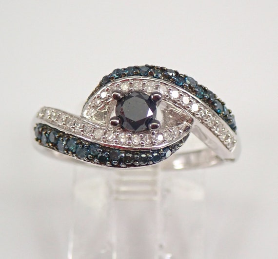 Fancy Blue Black Diamond Bypass Ring Crossover Band 14K White Gold Size 7 FREE SIZING