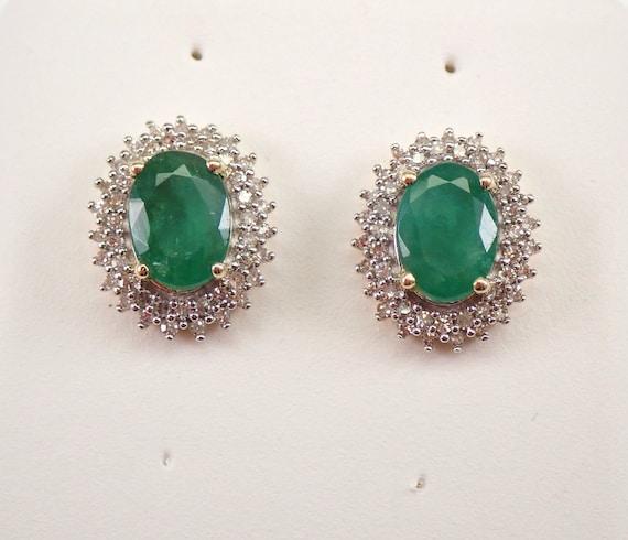 Yellow Gold Emerald and Diamond Halo Stud Earrings 1.35 ct Studs May Gemstone