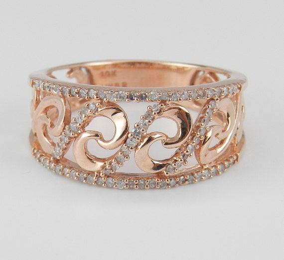 SUPER SALE! Diamond Band Right Hand Ring Anniversary Band Rose Pink Gold Size 6.75 FREE Sizing