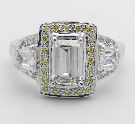 Emerald Cut Diamond Engagement Ring, Canary Diamond Ring, 18K White Gold Halo Engagement Ring, Diamond Ring