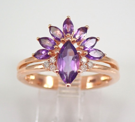 Amethyst and Diamond Engagement Ring Wedding Band Rose Gold Size 7 February Gem