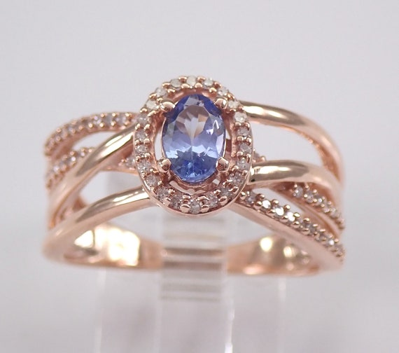 Tanzanite and Diamond Engagement Ring, Rose Gold Crossover Ring, Tanzanite Halo Ring, Multi Row Gold Band