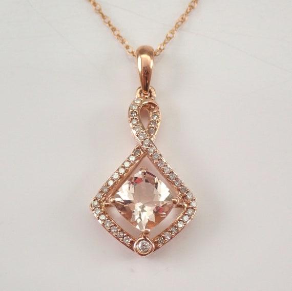 "Cushion Cut Morganite and Diamond Halo Pendant Necklace Rose Gold 18"" Chain"