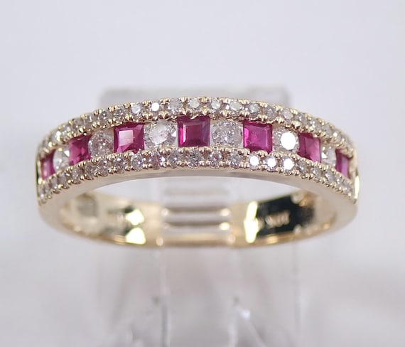 Yellow Gold Ruby and Diamond Ring, Ruby and Diamond Ring, Ruby Wedding Ring, Ruby Anniversary Band, July Birthstone