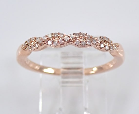Diamond Crossover Wedding Ring Stackable Anniversary Band Rose Gold Size 7