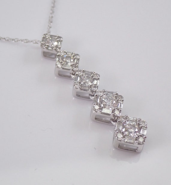 "1.00 ct Diamond Cluster Drop Pendant 14K White Gold Chain 18"" Wedding Necklace Gift"