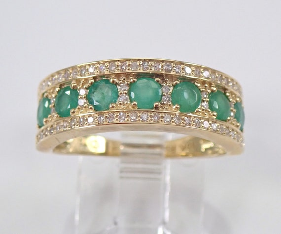 Yellow Gold Diamond and Emerald Anniversary Band Wedding Ring Size 7 Green Gemstone FREE Sizing