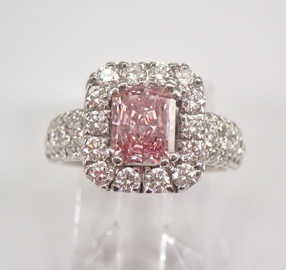 18K White Gold 2.24 ct Fancy Pink Radiant Cut Diamond Halo Engagement Ring Size 5