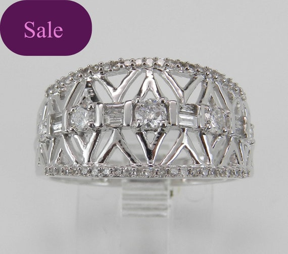 SUPER SALE! Diamond Wedding Ring Anniversary Band Size 7 Sizable 14K White Gold FREE Sizing